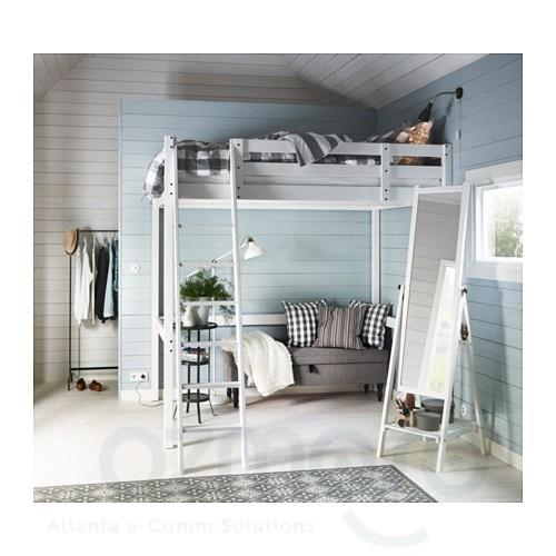 ikea stora loft full double size kids white bunk bed pine. Black Bedroom Furniture Sets. Home Design Ideas