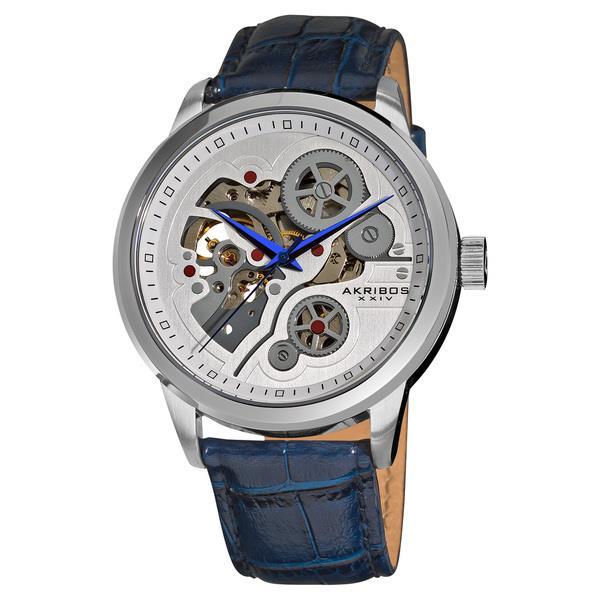 akribos xxiv ak538bu mechanical skeleton silvertone case blue akribos xxiv ak538bu mechanical skeleton silvertone case blue strap mens watch