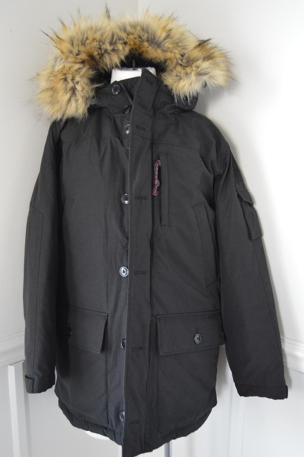 J Crew $450 Mens Nordic Parka Fur Winter Coat Black XS