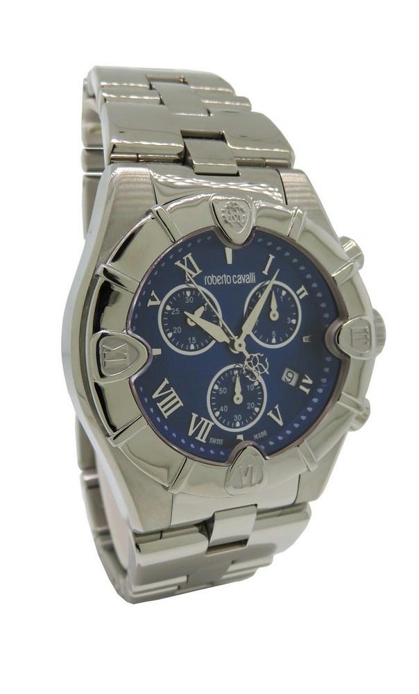 7e4fe0b7657 Roberto Cavalli R7253616035 Diamond Time Men s Chrono Date Blue ...