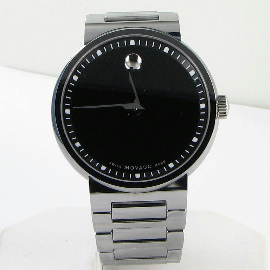 Movado Dura 0606433 Tungsten Carbide Mens Watch Black Dial