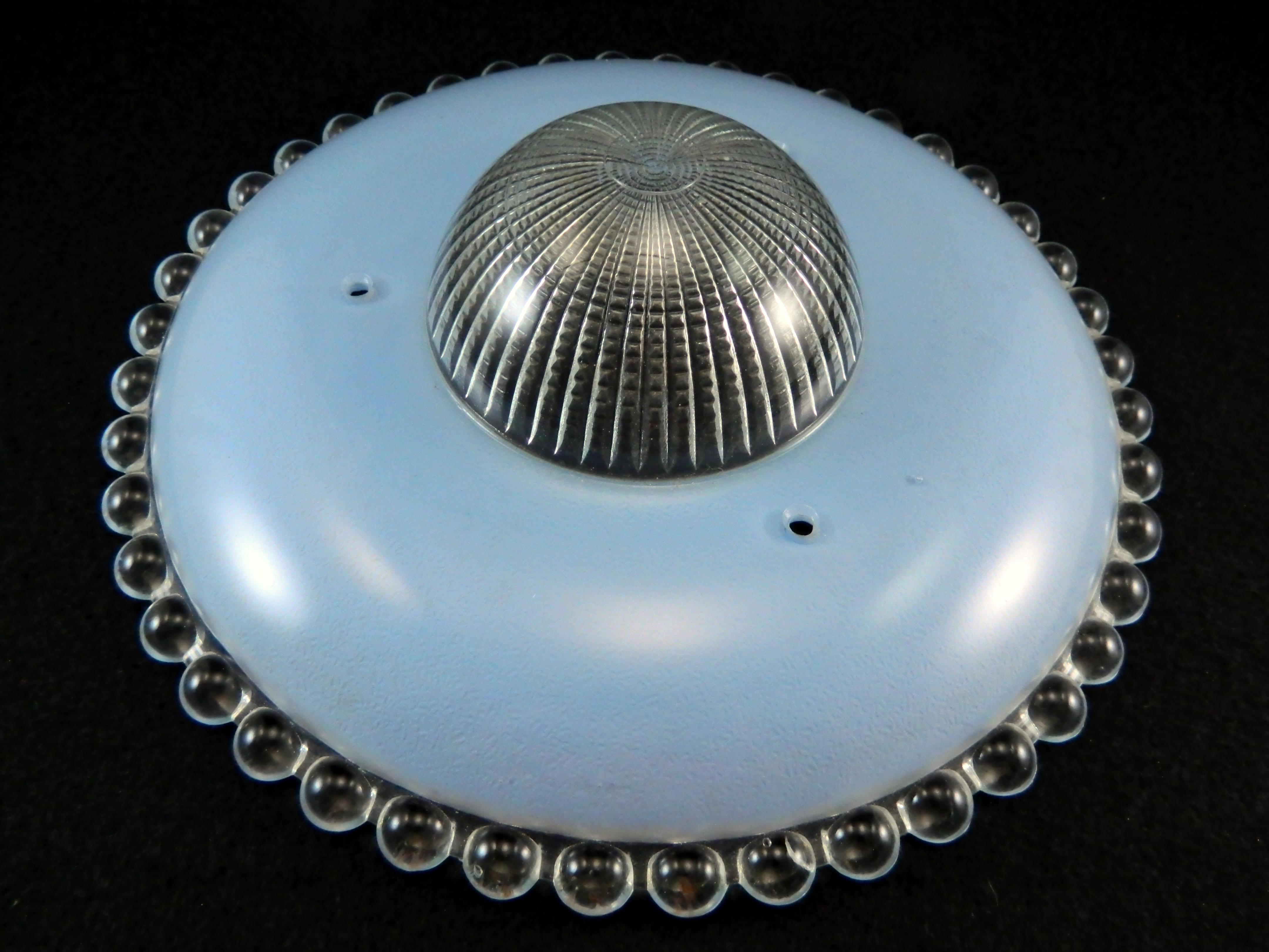 Vintage Art Deco Blue Glass 3 Chain Flying Saucer Ceiling