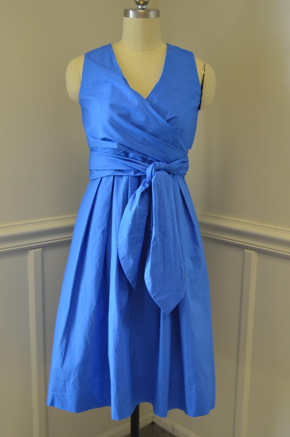 27eedb60c23 NEW JCrew  138 Wrap Dress in Cotton Poplin Size 2 Sundrenched Pool ...