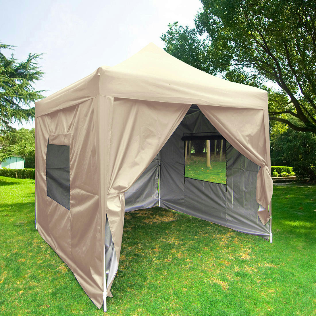 Quictent 6 6 X6 6 Beige Pyramid Roofed Pop Up Party Tent