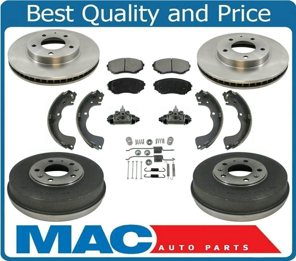 Front Rotors Drums Brake Shoes Springs Cylinders for Honda Accord 2.4L 03-07