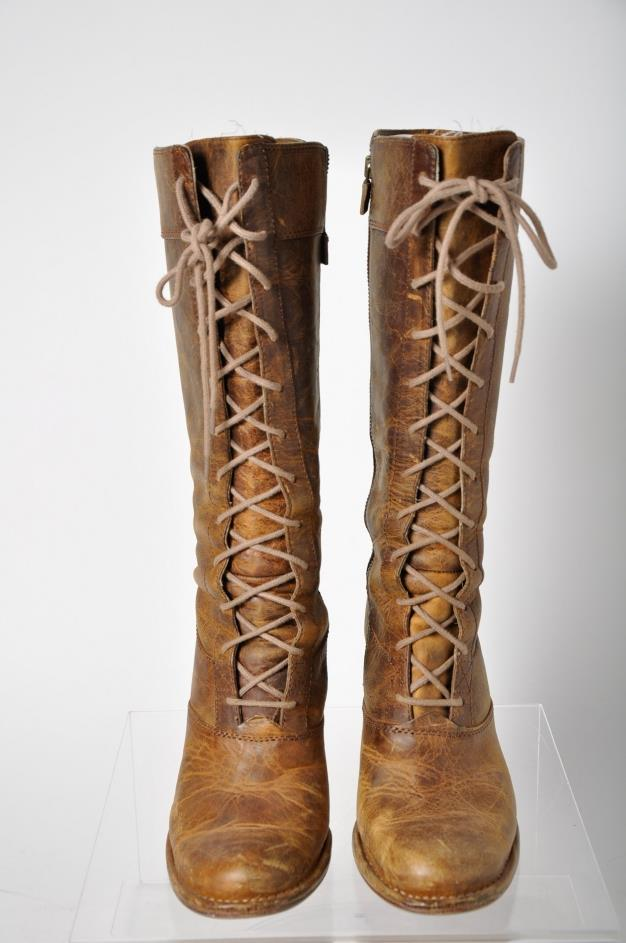 frye brown leather high heel lace boot shoes size 9 ebay