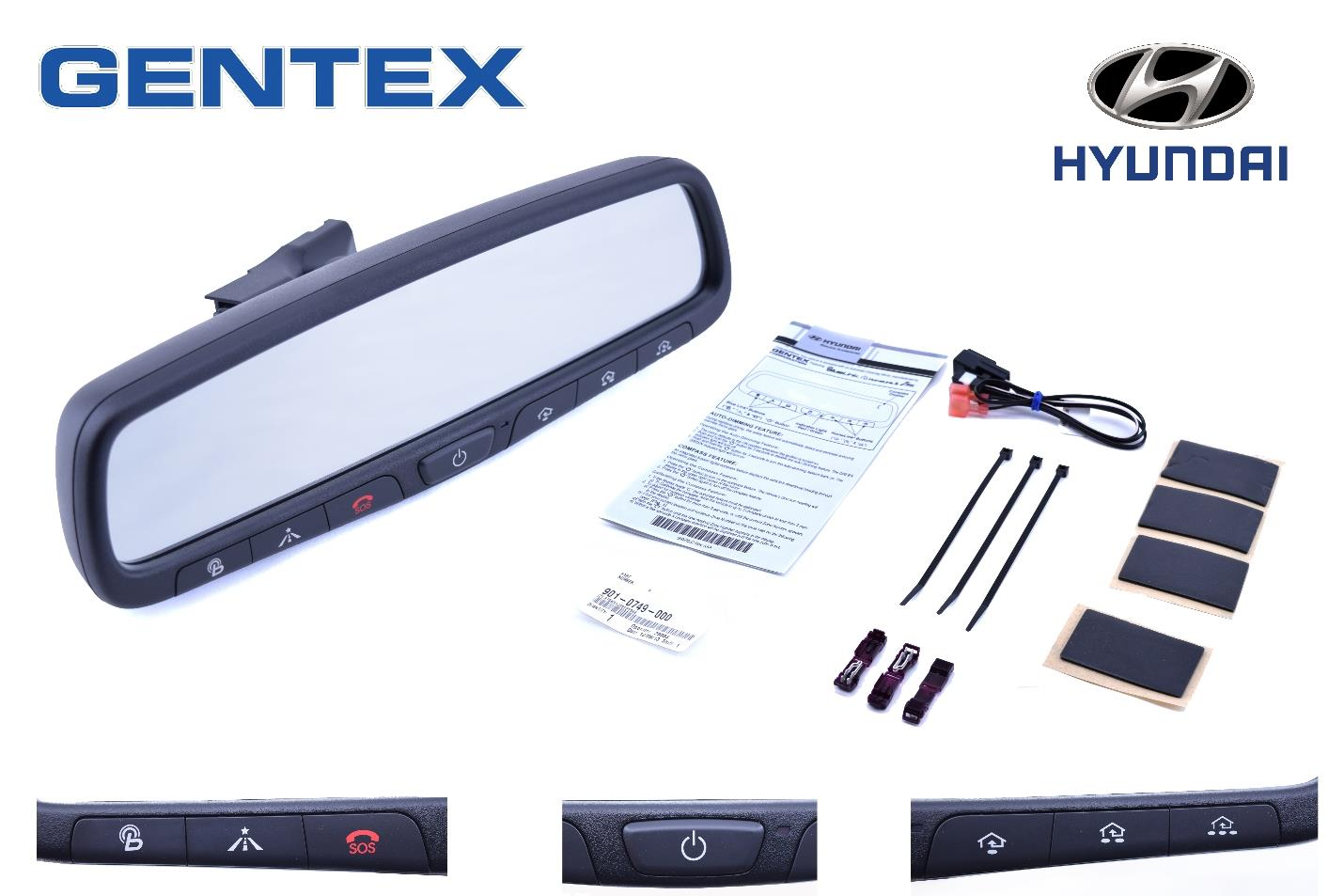 new hyundai gentex rear view mirror bluelink home link install kit 3q062 adup0 ebay. Black Bedroom Furniture Sets. Home Design Ideas