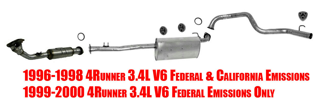 exhaust system with federal emissions for toyota 4 runner