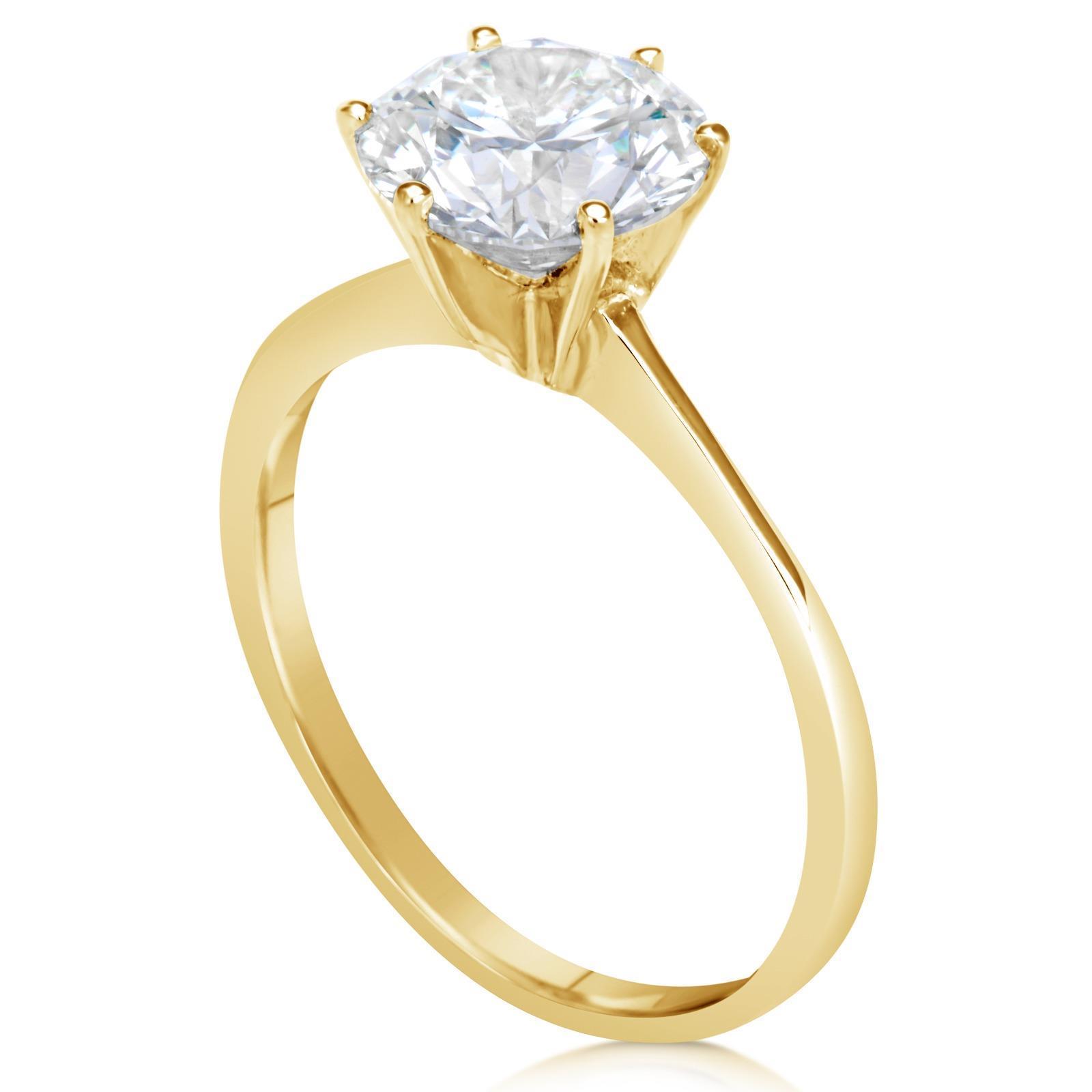 1.5 Ct Round Cut Diamond Engagement Ring VS-2/G 14K Yellow ...