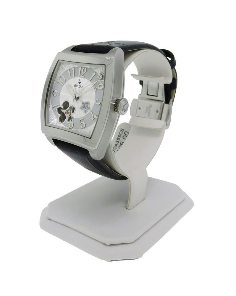 1 of 4FREE Shipping Bulova 96P118 Women's Diamond Tonneau Leather Stainless  Steel Automatic Watch