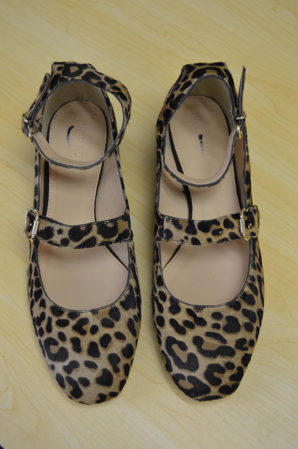 JCrew Collection $248 Double Strap Flats Leopard Calf Hair ...