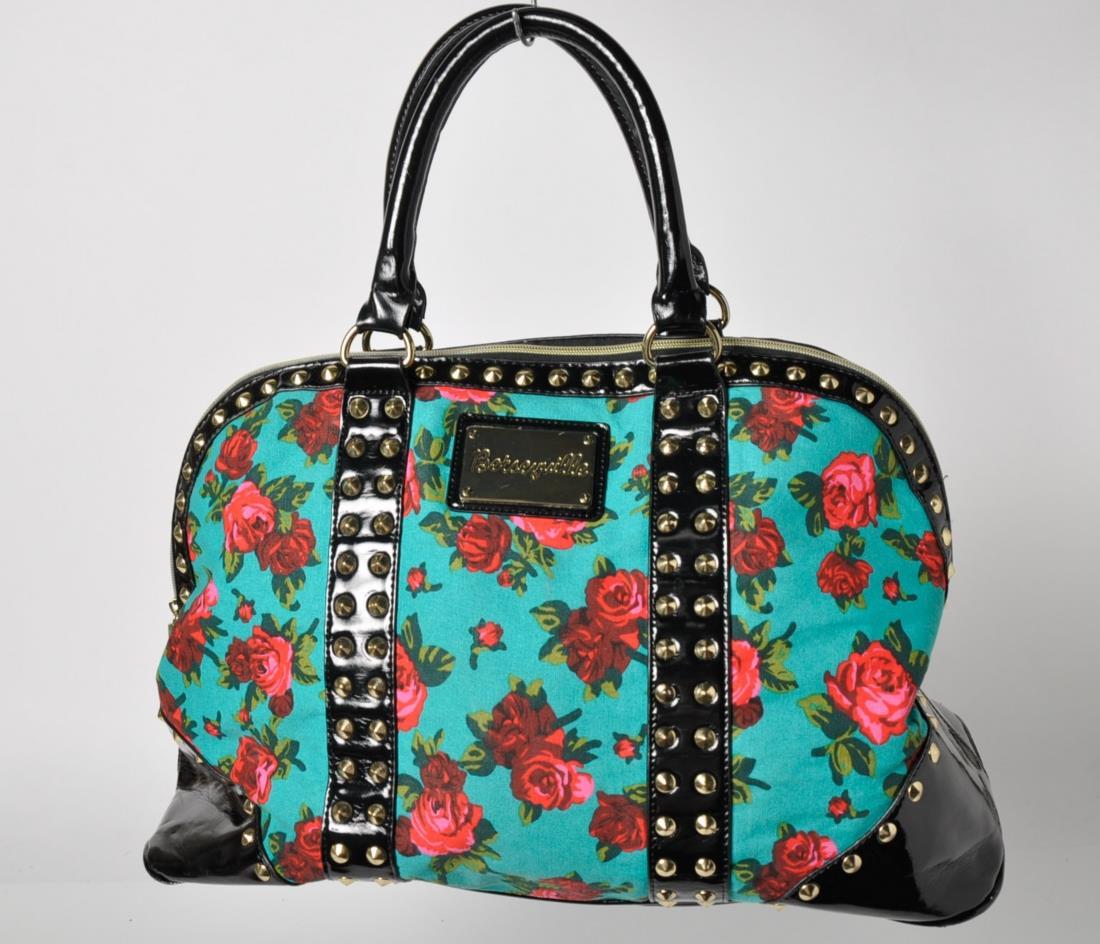 Betseyville Betsey Johnson Black Floral Studded Tote Handbag | EBay