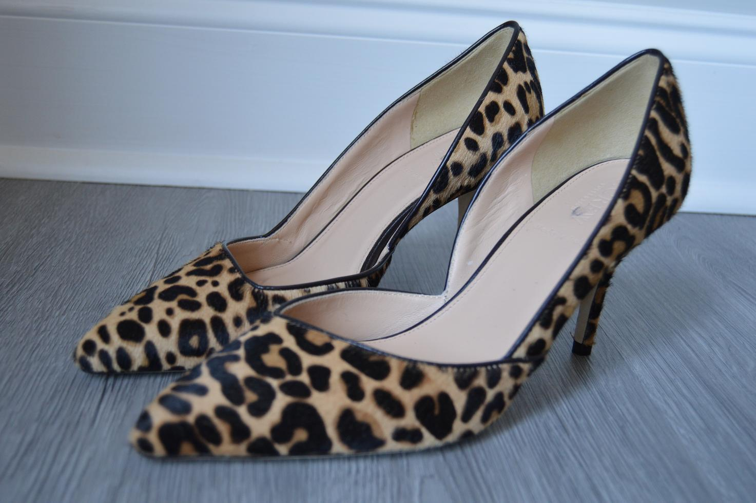 643d1c408beb JCrew  378 Colette d Orsay Pumps Leopard Calf Hair f5532 Walnut Brown Sz 7  NEW