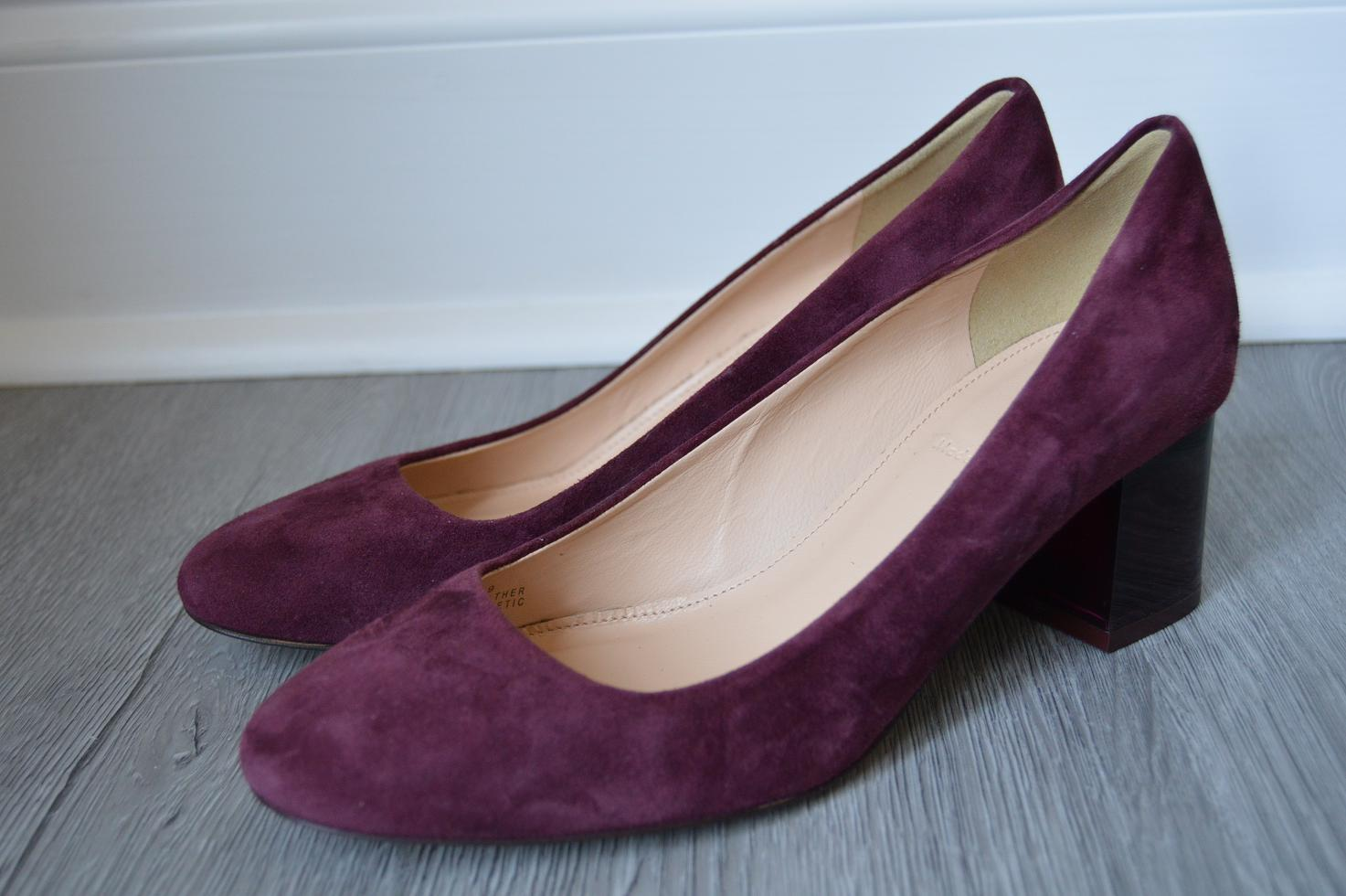 Details about JCrew  218 Lucite Heels in Suede 10 Shoes Vintage Cabernet  Red f5959 Block
