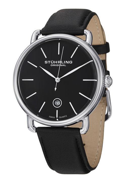 Stuhrling Original 768 02 Swiss Quartz Date Black Leather Strap Mens