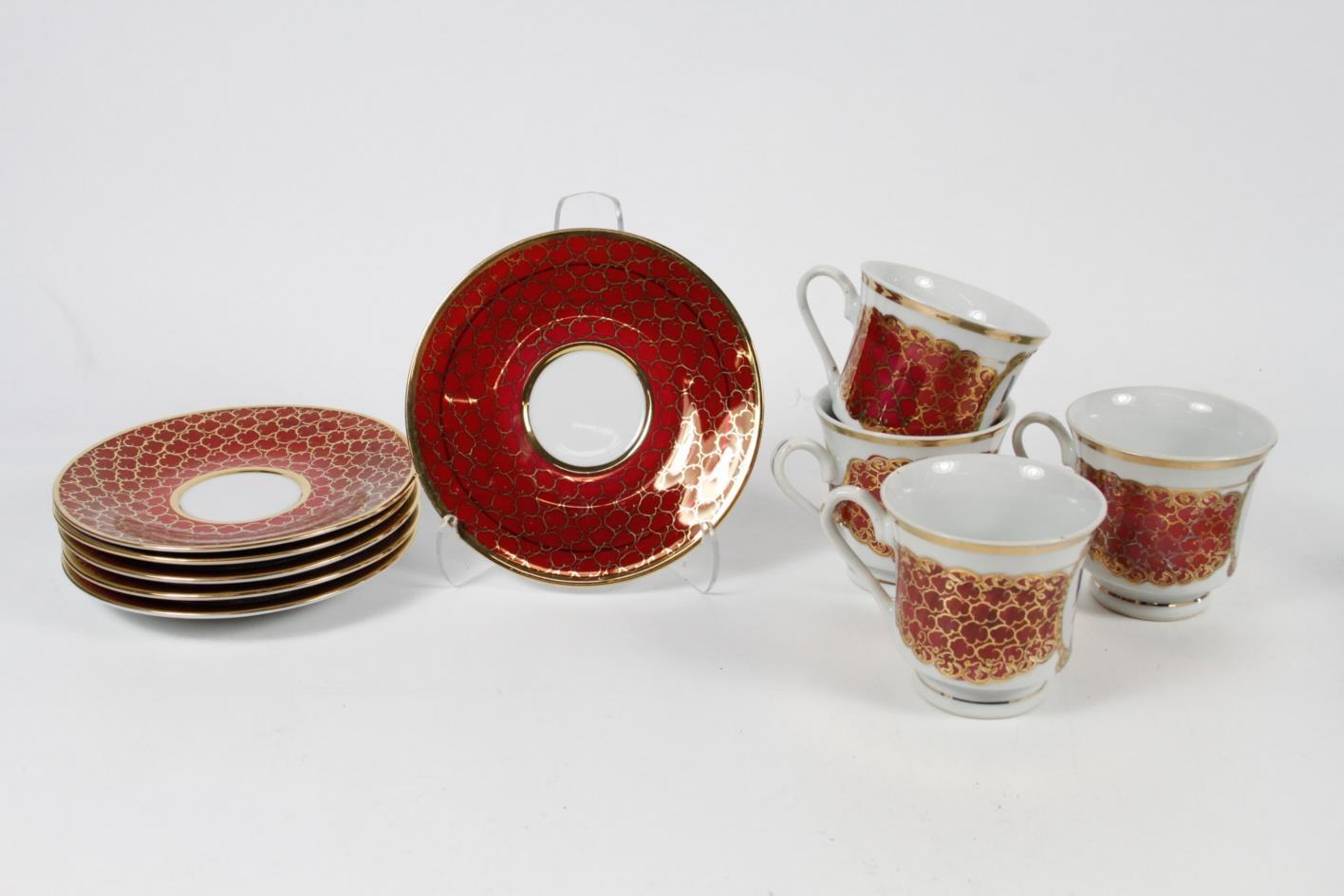 10 piece limoges tea cup and saucer floral design gold. Black Bedroom Furniture Sets. Home Design Ideas