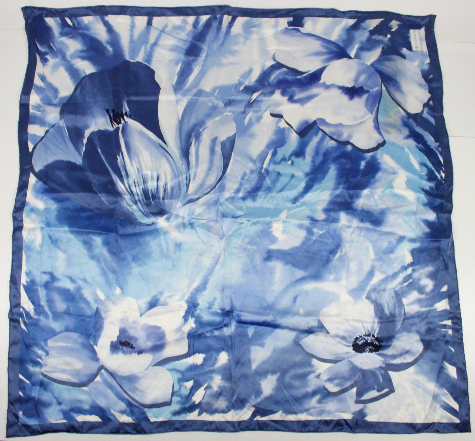 vakko blue silk floral square scarf ebay