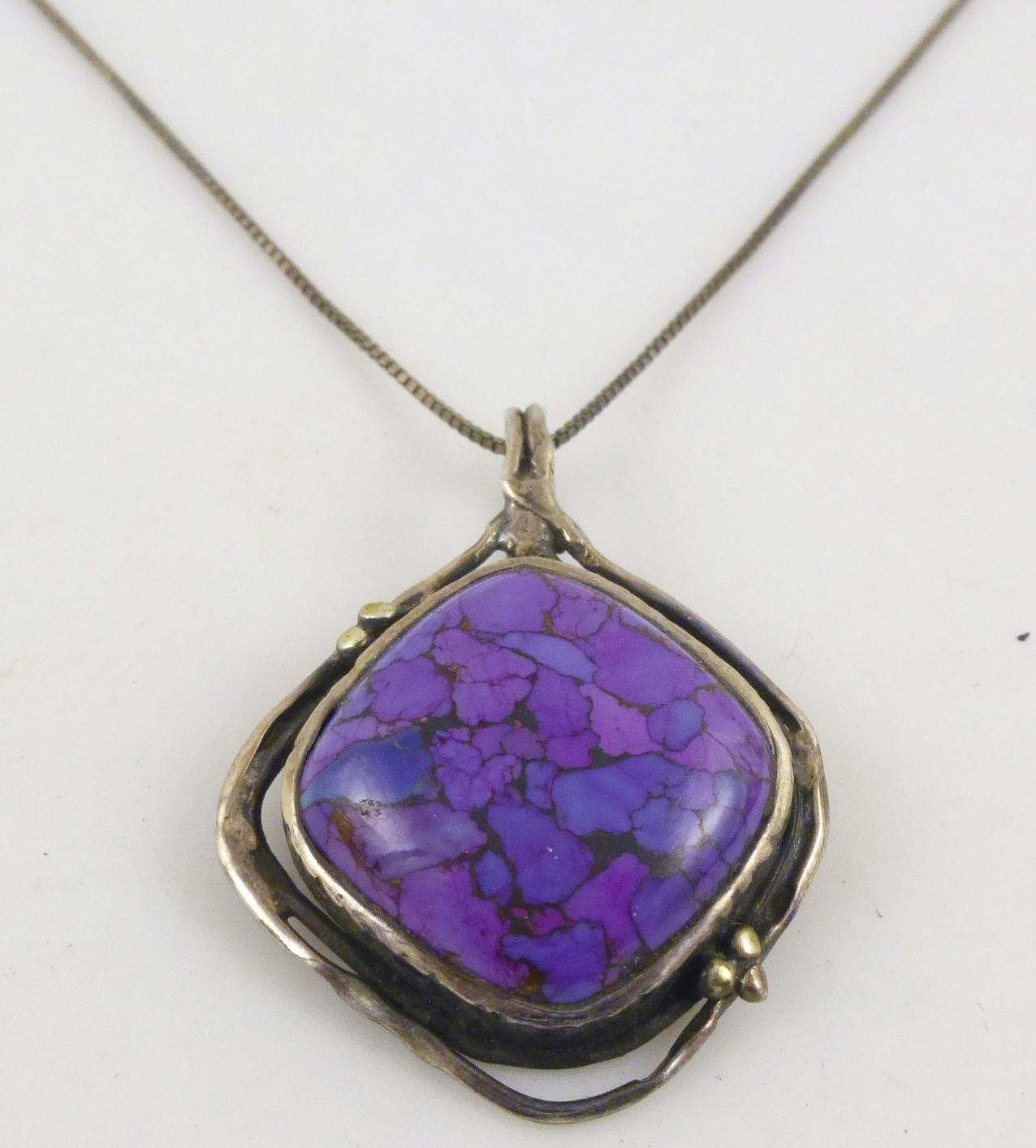 925 sterling silver purple bluebird cabochon pendant box