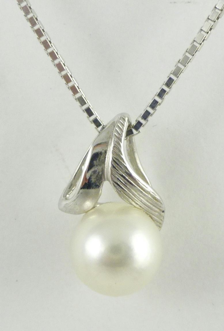 14k white gold white cultured pearl pendant omega chain
