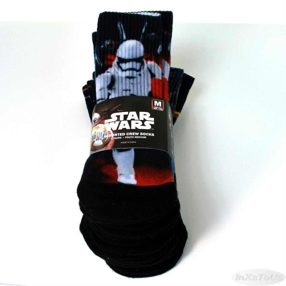 9 Pair Youth Star Wars Classic Crew Socks Asst New Sz M or L Yoda Storm Trooper+