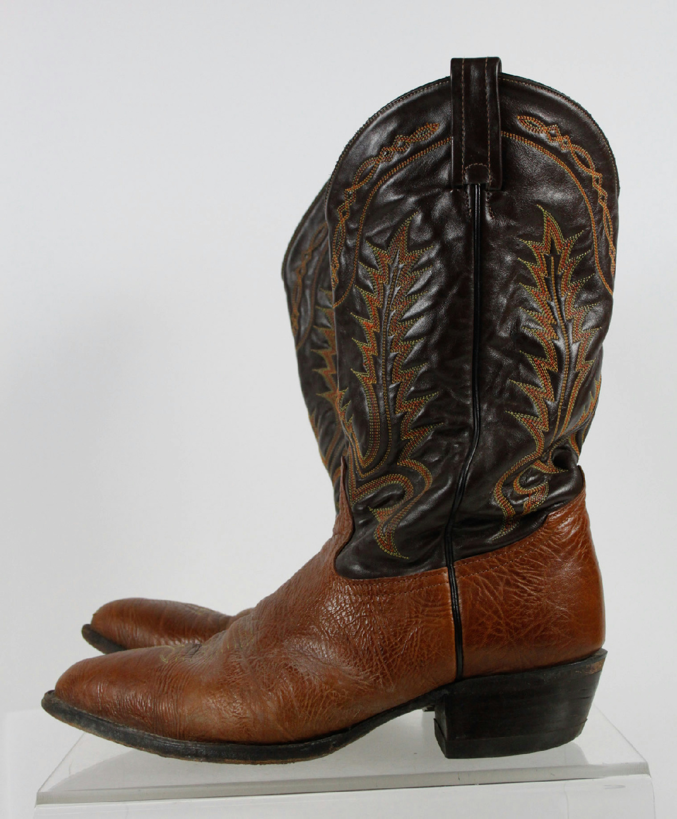 tony lama brown pull on western cowboy boots size 12 d ebay