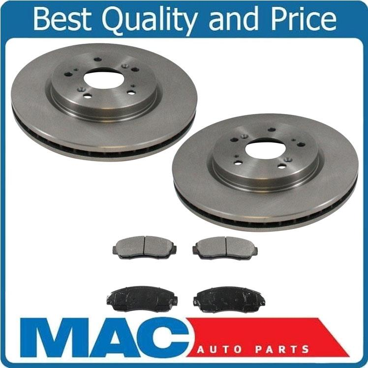 (2) Front Rotors & Brake Ceramic Pads For Acura RDX 07-12