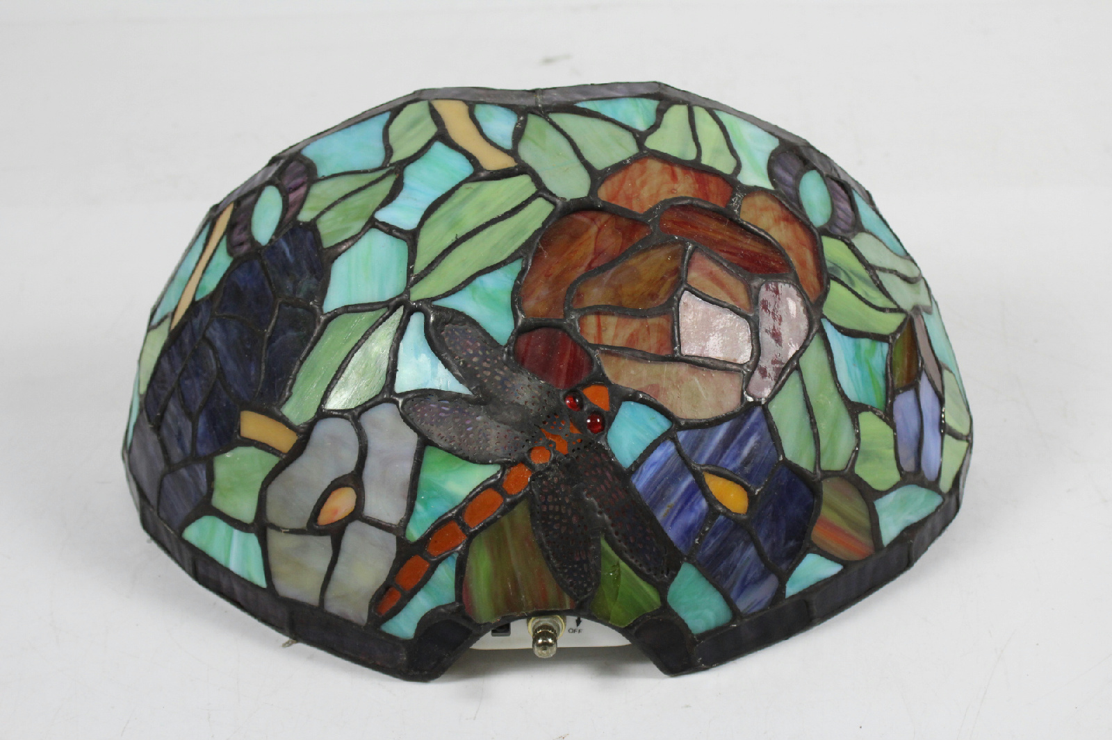 Stained Glass Wall Lamp Shades : Tiffany Style Dragon Fly Stained Glass Wall Hanging Lamp Shade eBay