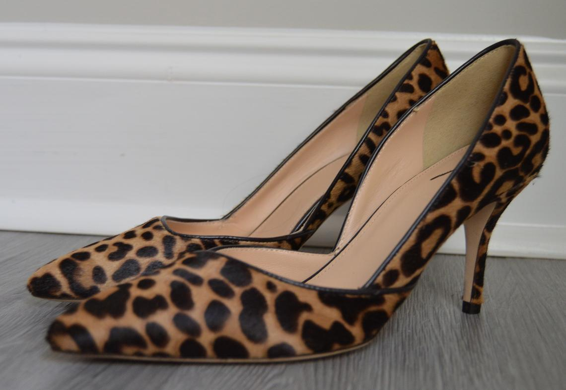 fba23b8cfb27 JCrew  378 Colette d Orsay Pumps Leopard Calf Hair f5532 Walnut Brown 6 NWOB