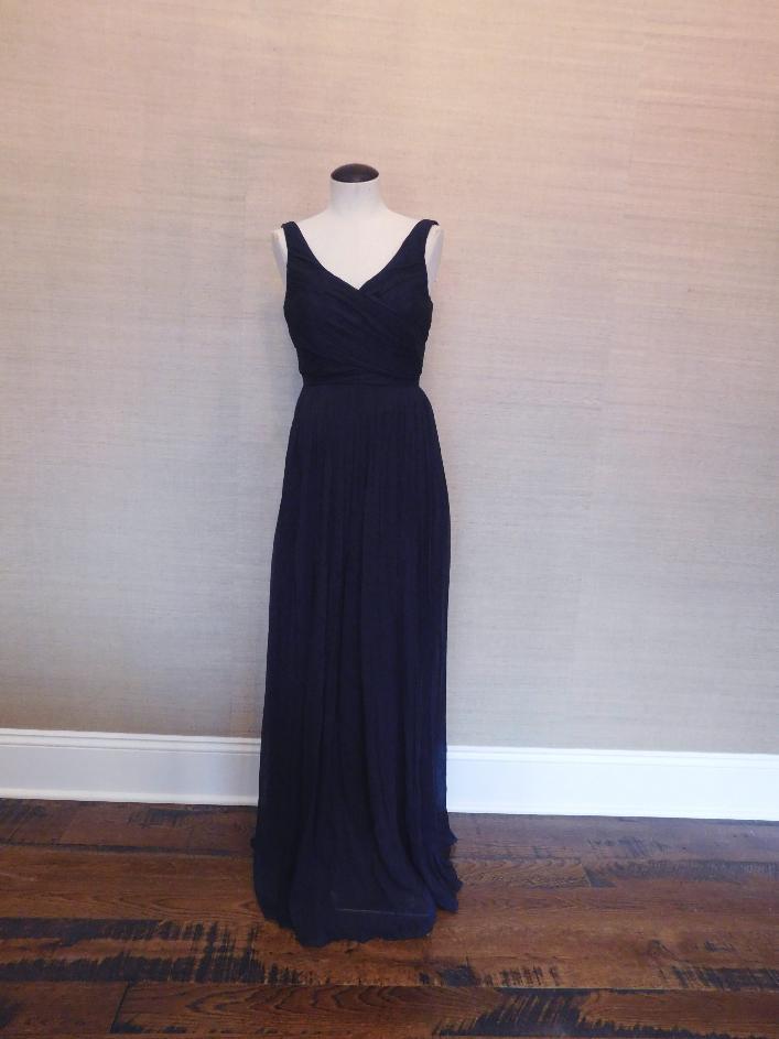 J.Crew $365 Silk Chiffon Heidi Gown 6 P Newport Navy petite long ...