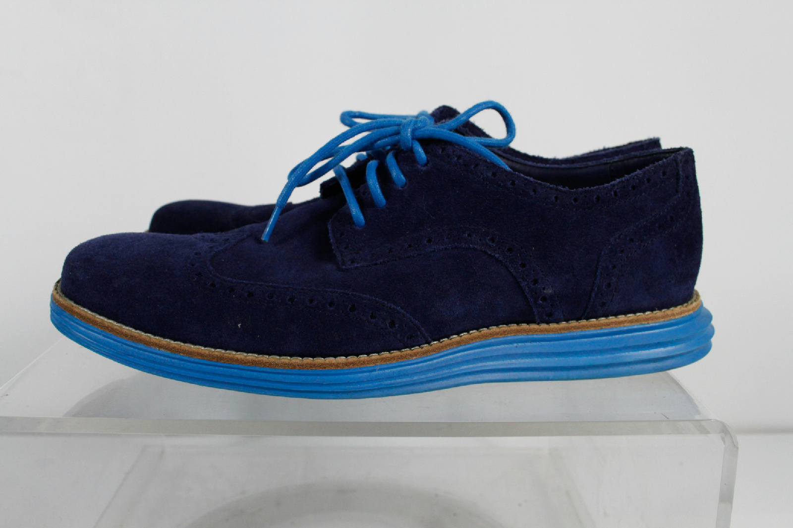 cole haan blue suede lace up oxford shoes size 8 5 m