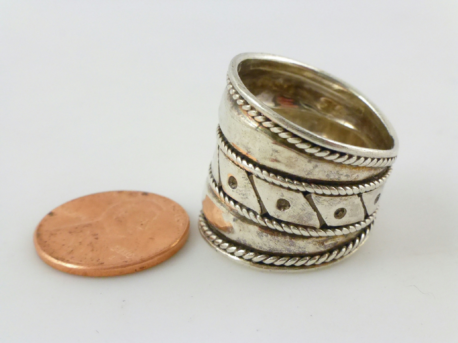sterling silver tapered dotted cigar band ring sz 7 5
