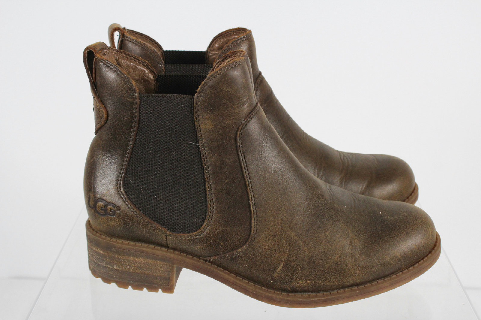 ugg brown chelsea style boots size 6 5 ebay