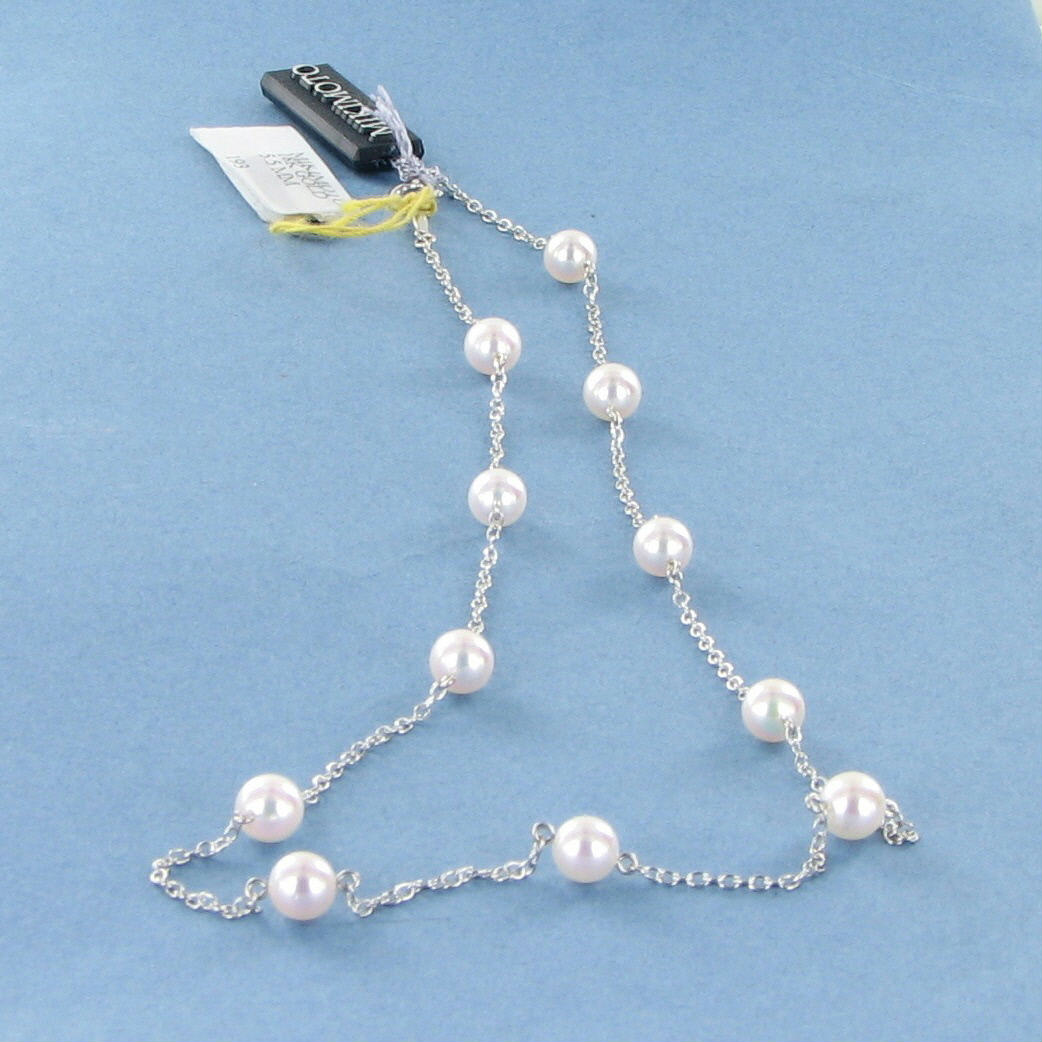"Mikimoto Pearls Necklace: Mikimoto 5.5mm Akoya Pearl 16"" Station Necklace 18k White"