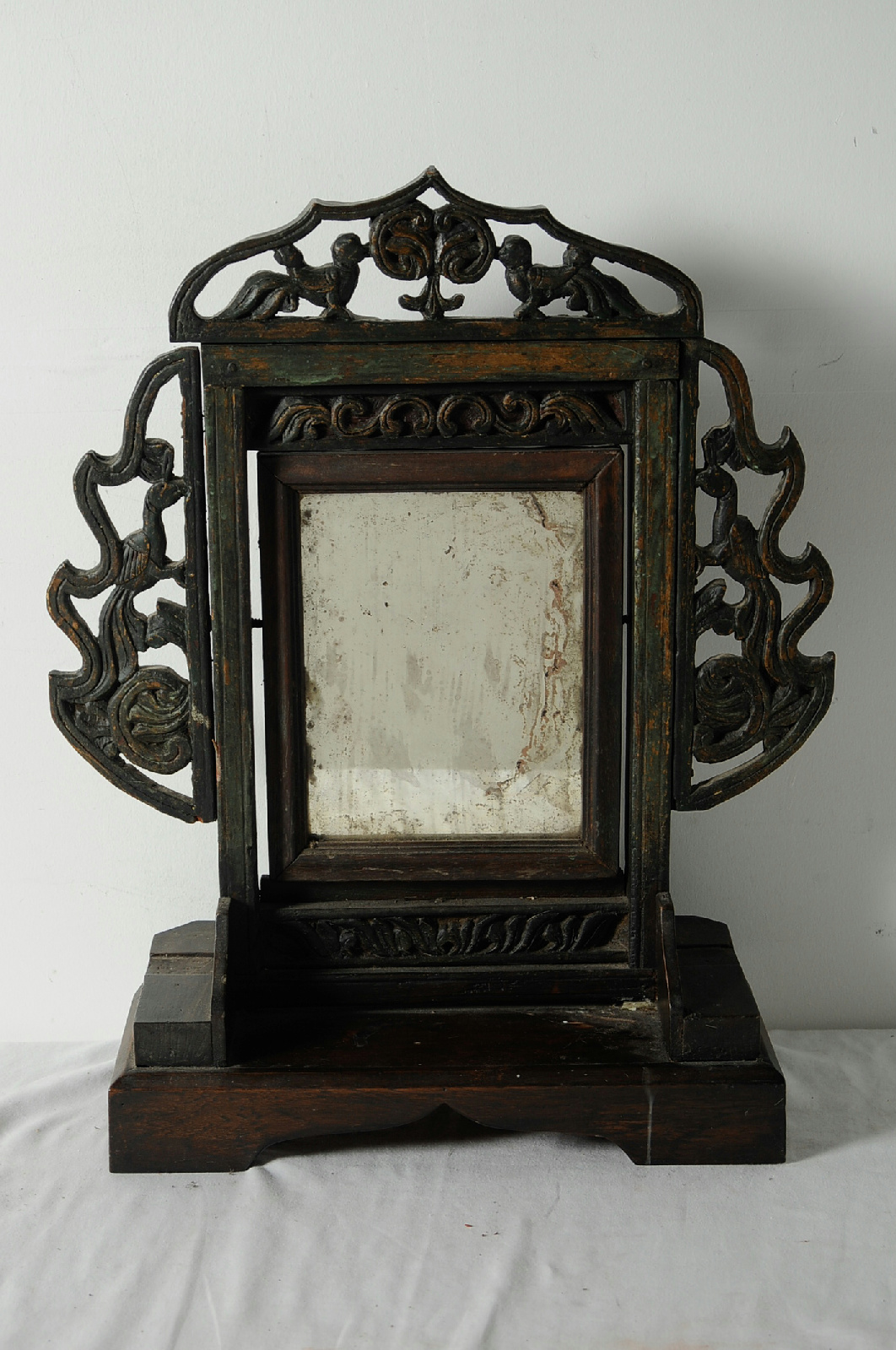 Antique wooden vanity swivel mirror table top stand from for Antique standing mirror
