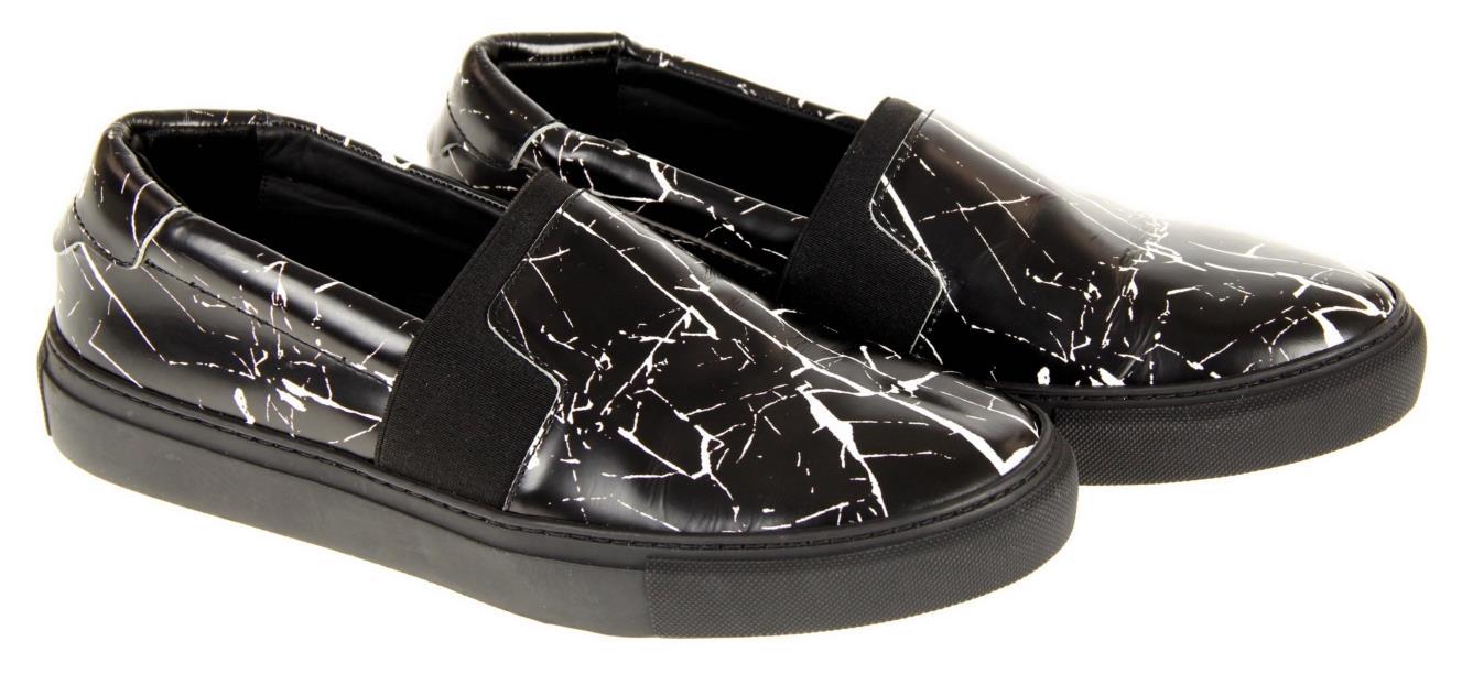 White Marble Leather Slip