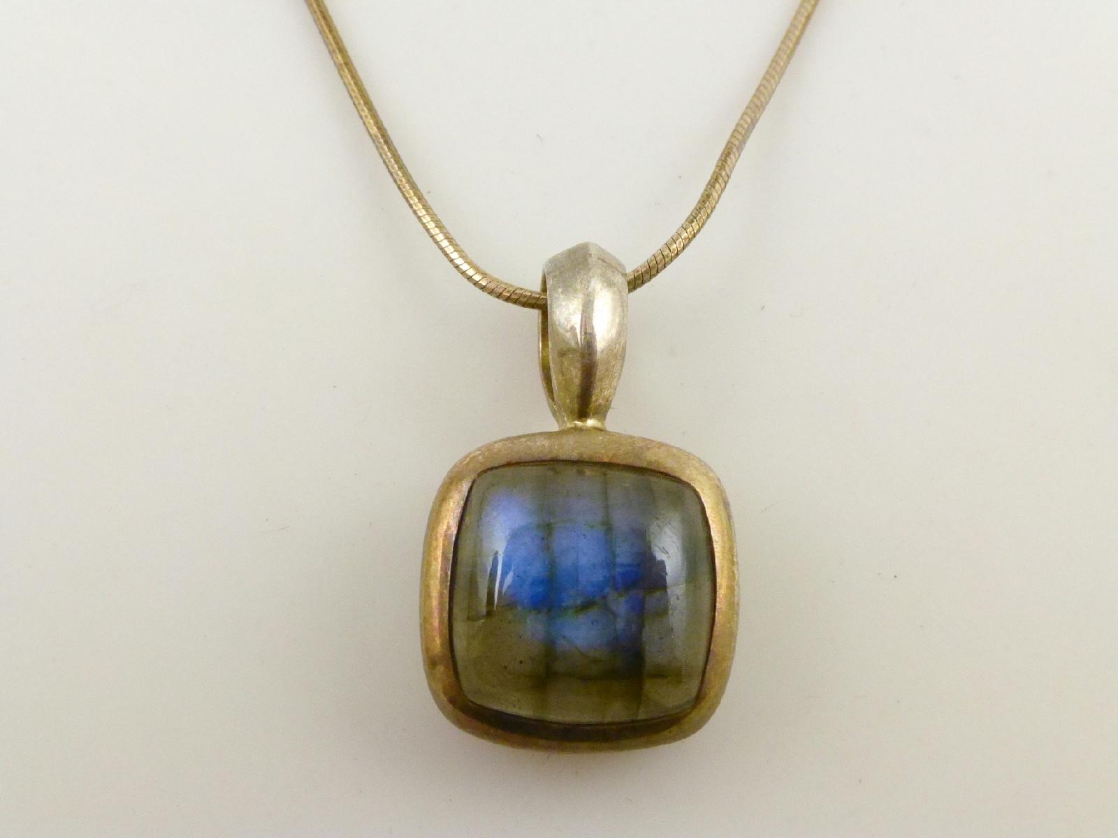 925 sterling silver square labradorite cabochon pendant