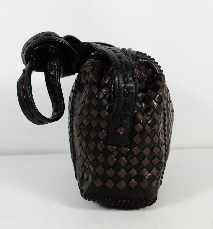 Jay Herbert Black Brown Woven Leather Cross Body Bag
