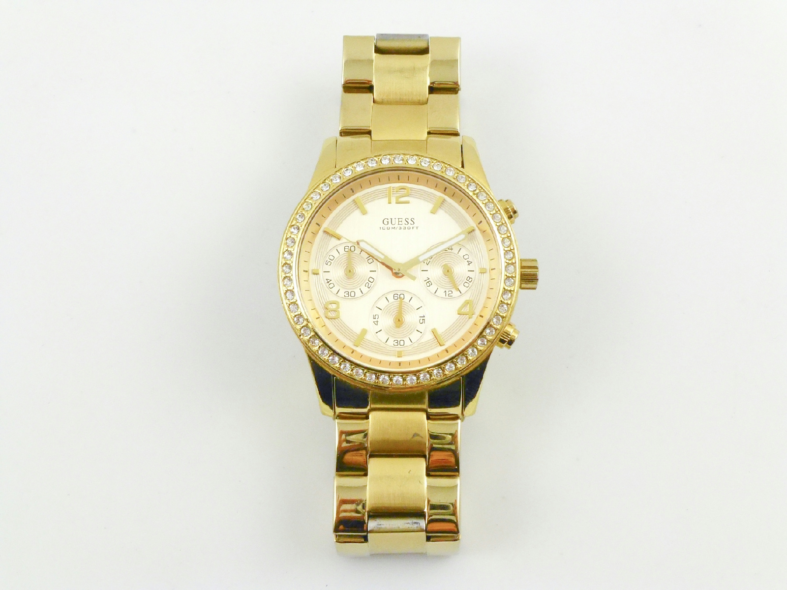 guess chronograph yellow gold plated rhinestone ebay