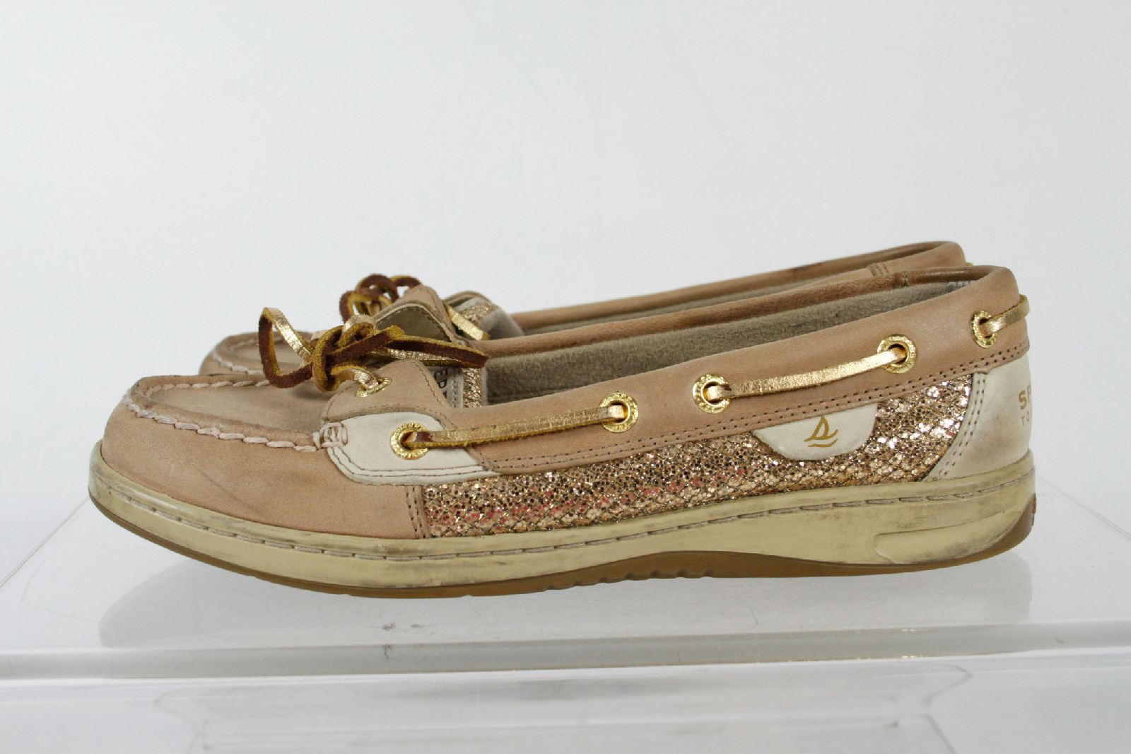 sperry top sider beige leather lace textured moccasin