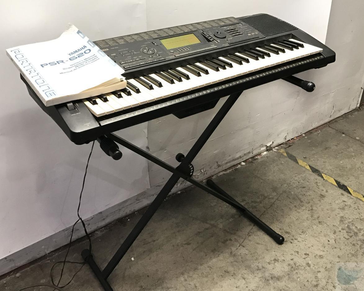 Yamaha psr 600 keyboard 61 key midi w stand power supply for Yamaha psr stand