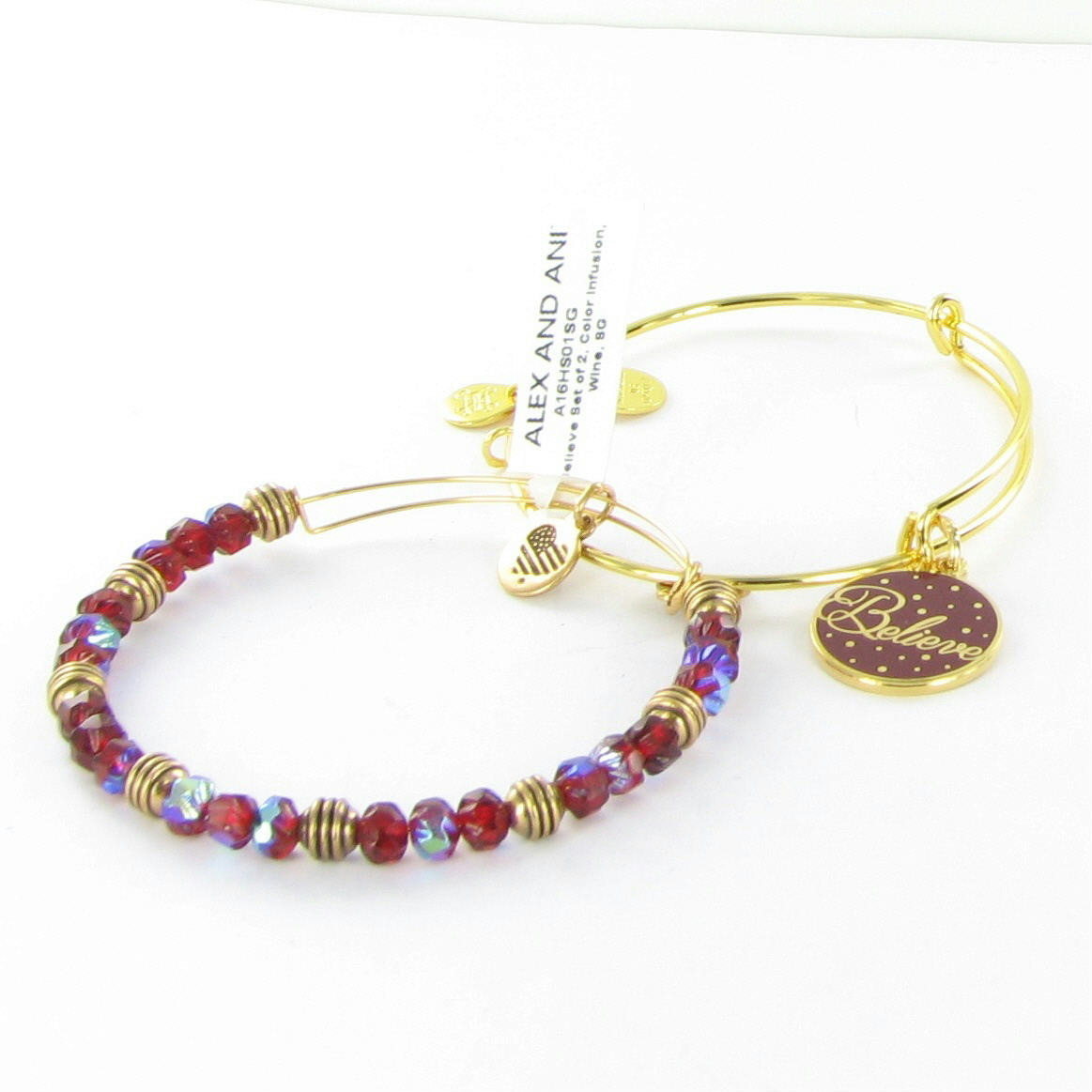 Alex And Ani Believe Set Of 2 Wine Color Infusion Gold