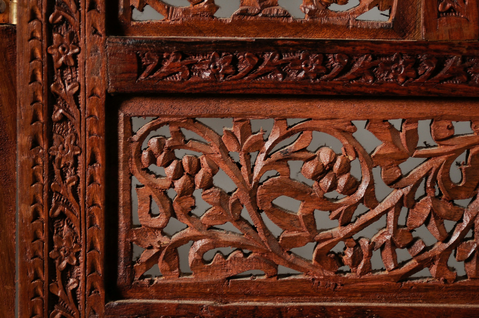 Hand Carved Wooden Room Divider Floor Screen ~ Asian hand carved floral design panel wood screen room