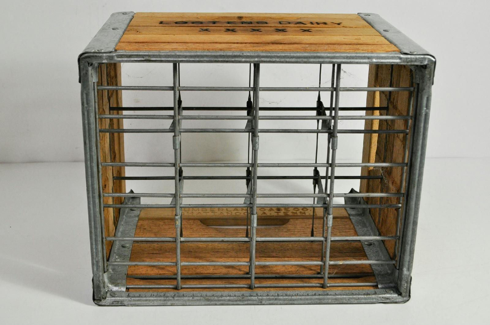 vintage wood metal lostens diary milk crate cumberland