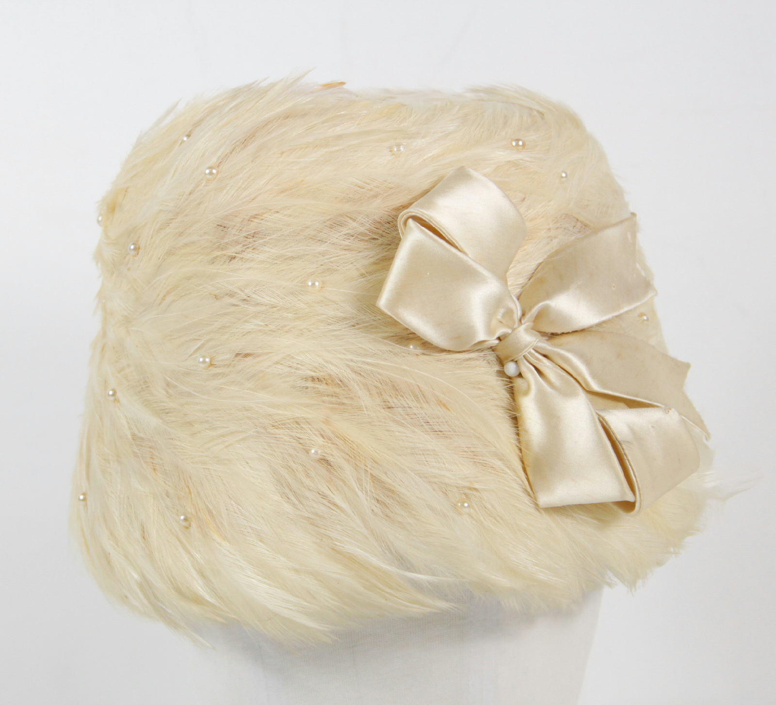 vintage beige feather beaded bow s church hat ebay