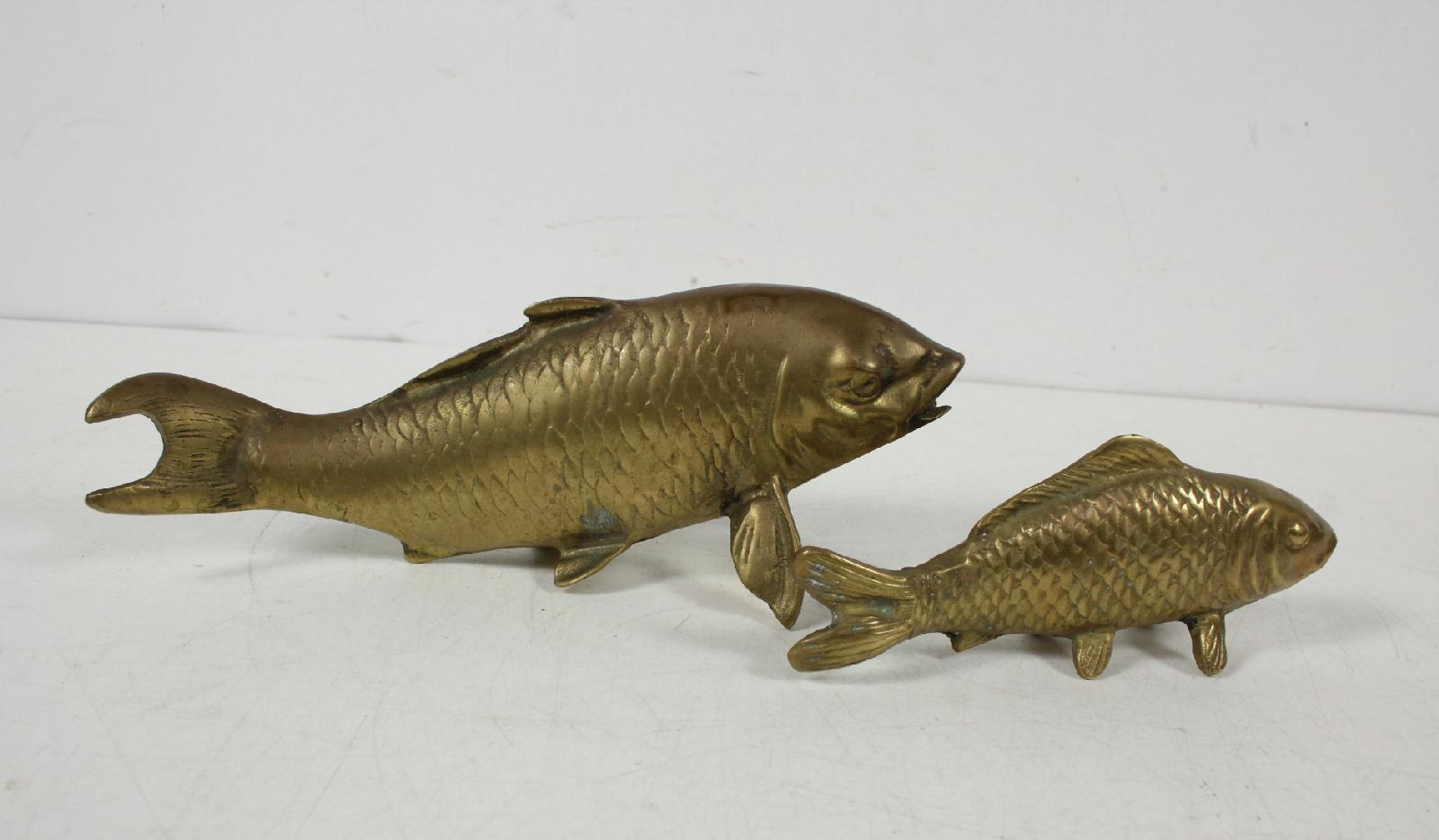 2 vintage brass statue fish luck koi sculpture set for Koi fish statue