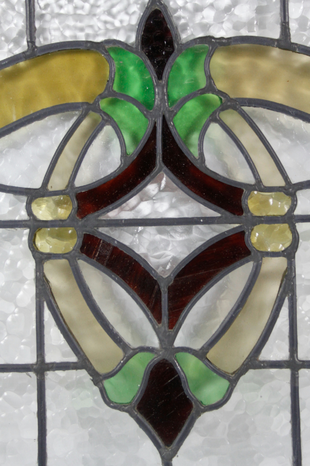 Red Stained Glass : Vintage green yellow red stained glass window ebay
