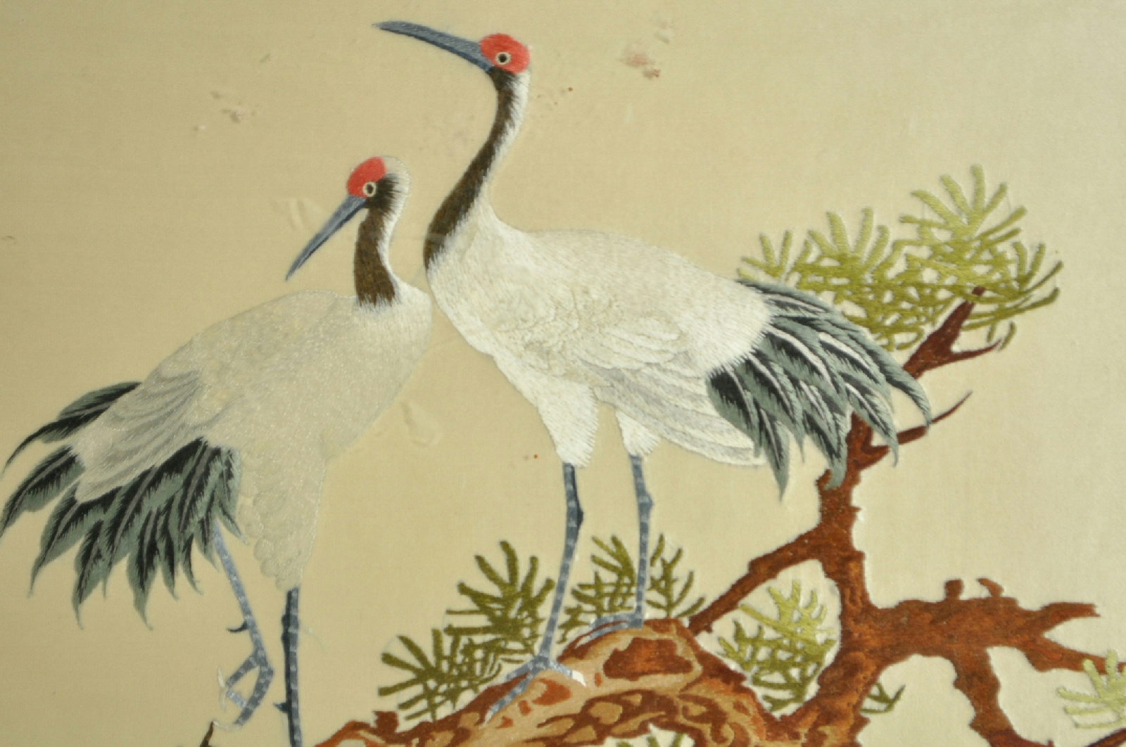 Asian Embroidery Crane Birds Naturalist Fabric Wall Art Ebay