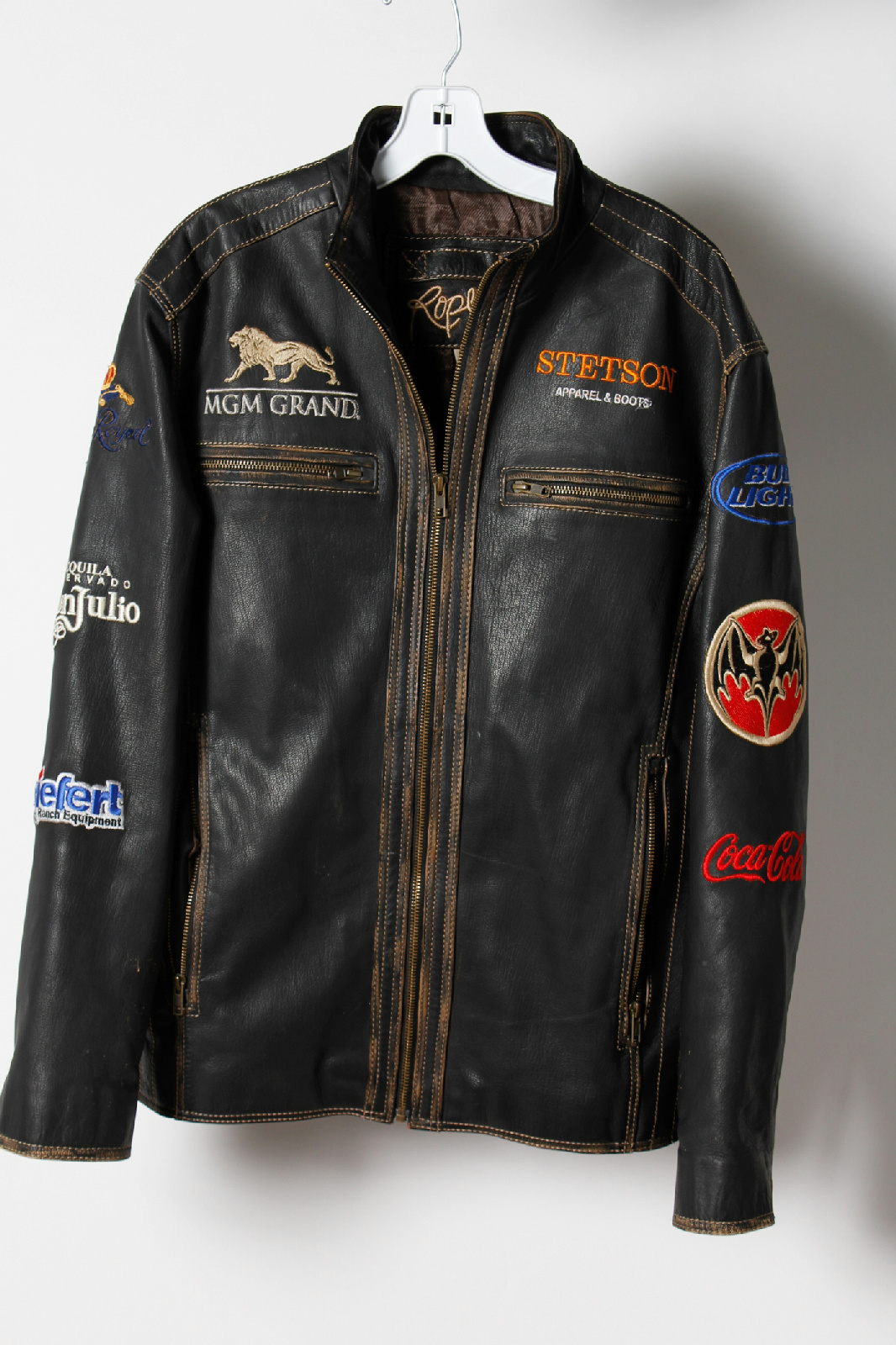 Roper Black With Logo Patches Leather Motorcycle Jacket | EBay