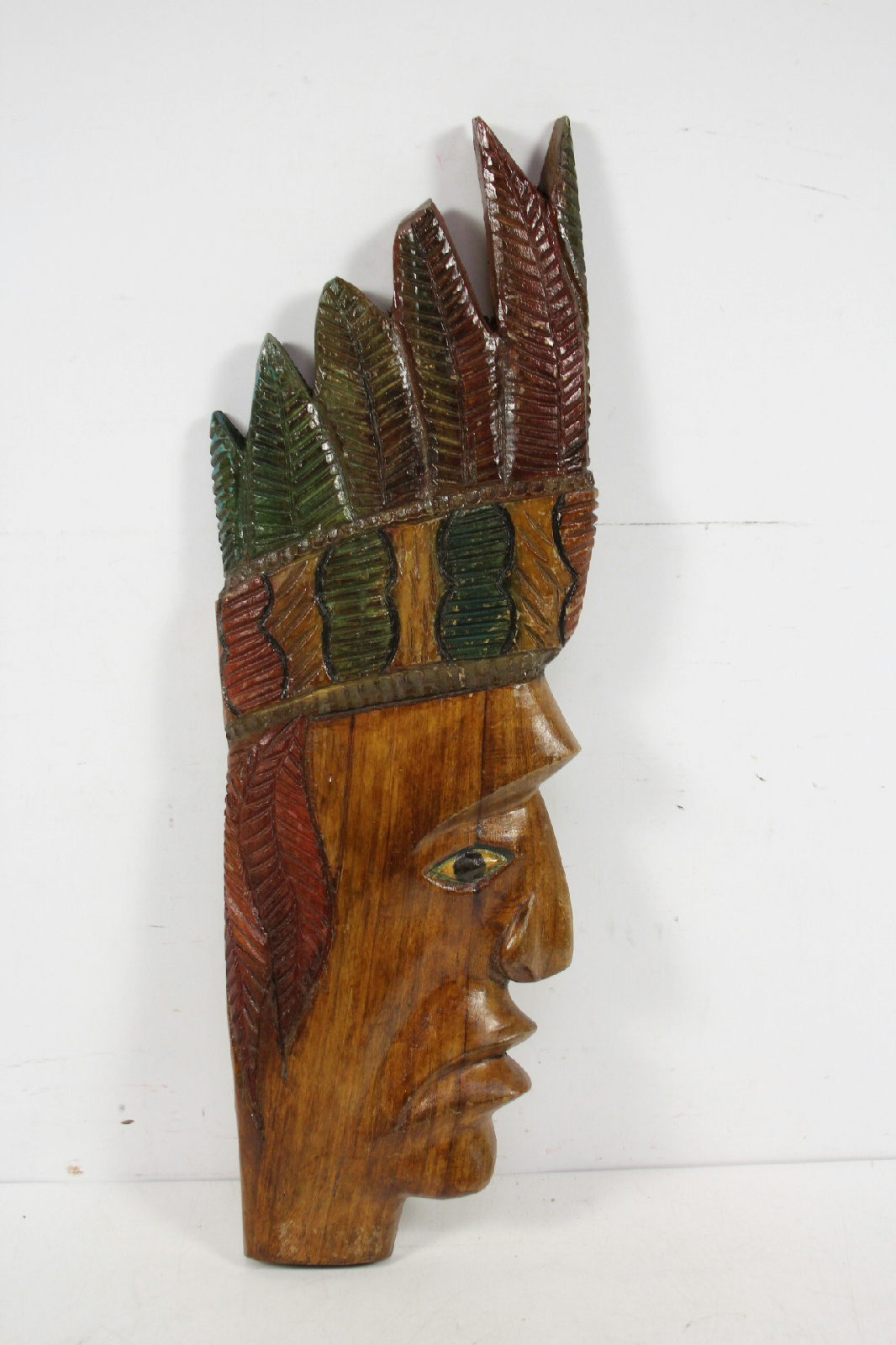 Hand Carved Folk Art Indian Wood Wall Hanging Sculpture