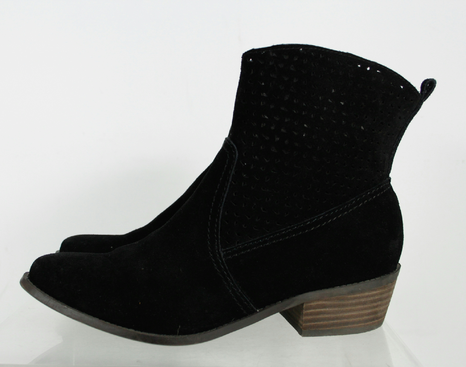 american eagle black suede cut out patterned ankle boots
